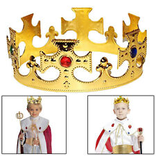 Plastic Kings Crown Hat Kids Set of 2 Jeweled Majestic Regal Gold Crown Costumes