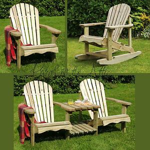 Murcia Solid Wood Outdoor Adirondack Chair Garden Patio Wooden Rocking Furniture
