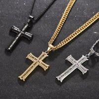 Men's Stainless Steel Cross Pendant Necklace Bible Verse With Curb Chain 24''
