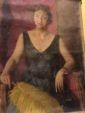 Antikes großes Art Deco Gemälde Öl Leinwand sig