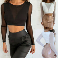 Womens Casual Mesh O-Neck Paragraph Perspective Blouse Long Sleeve Tops T Shirt