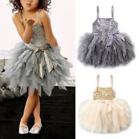 Girls Kids Toddler Baby Sequins Ballet Party Pageant Wedding Tutu Tulle Dress