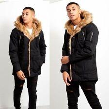 NEW MENS OVERSIZED FAUX FUR TRIM HOODED BLACK PARKA Coat