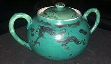 Antique Chinese Green Silver Dragon porcelain ceramic Sugar