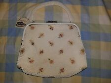 NWT VINTAGE 1950'S  CORDE BEAD LUMURED CRYSTAL PURSE MADE IN USA