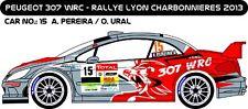 DECALS 1/43 PEUGEOT 307 WRC - #15 - PEREIRA - LYON CHARBONNIÈRES 2013 - D43206