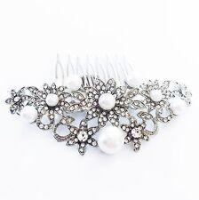 USA Hair Comb Rhinestone Crystal Bridal wedding Vintage Party Fancy Silver Pearl