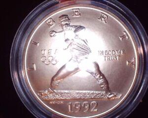 1992-D OLYMPIAD OLYMPICS BASEBALL COMMEMORATIVE SILVER HALF DOLLAR IN BOX W COA