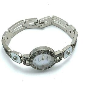 Main Line Time Womens Wrist Watch Marcasite and MOP Links