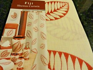 new Fabric SHOWER CURTAIN Cream Fiji RUST embroidered Leaves leafy~Dramatic look