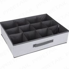 12 SECTION DRAWER TIDY Sock/Underwear Foldable Storage Box Compartment Organiser