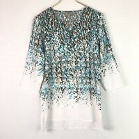 Easywear by Chico's Tunic Top Blouse V-Neck 3/4 Sleeve Semi-Sheer 0 S/4