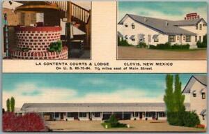 1950s CLOVIS New Mexico Postcard LA CONTENTA COURTS Route 60 Roadside Linen