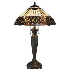 "Tiffany-style Beige and Brown Amberjack Table Lamp 16"" Shade"
