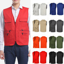 AU Men Sleeveless Multi Pocket Fishing Outdoor Vest Gilet Waistcoat Jacket Coat