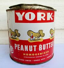VINTAGE 48 OZ  YORK PEANUT BUTTER TIN/CAN CANADA PACKERS LTD TORONTO