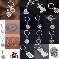 Dog Pet Paw Teacher Apple Keyring Keychain Jewelry Grandma Dad Mom Friend Gift