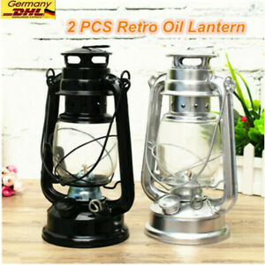 2X Sturm-Laterne Retro Stil Petroleum Stalllaterne Metall Outdoor Camping  Lampe