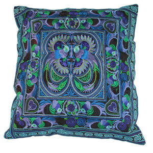 Bright Blue Hmong Embroidered Birds Cushion Cover