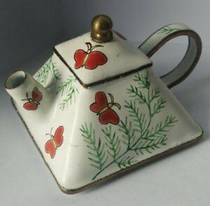 Charlotte Di Vita small enamel teapot hand painted butterfly design