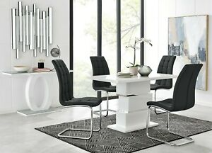 APOLLO White High Gloss Dining Table Set and 4 Faux Leather Chairs Seats Seater
