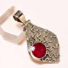 """FACETED KASHMIR RUBY 925 STERLING SILVER PENDANT 1.50"""""""