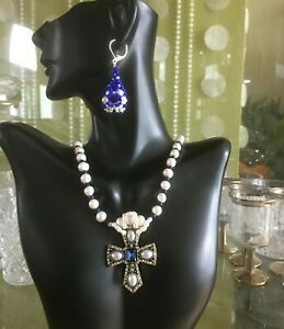 Jewelry set Necklace cross pendent earring White pearl & Sapphire Gift for Women