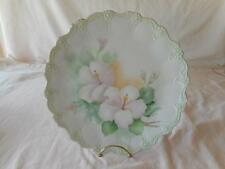 Pretty Pink Green Pastel Flowers Artist Sign Hand Painted Charger Cabinet Plate