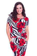 Plus Size Short Sleeve Floral Jumpsuits & Playsuits for Women