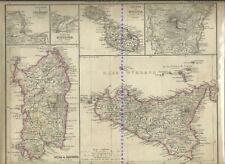 Sardegna e Sicilia Atlante di Stieler Giusto Perthes Gotha 1870 c.a MALTA