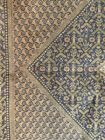 Antique Rug Carpet 1920s 7x4.5' brown green purple earth tones