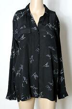 ZARA Bluse Gr. XS schwarz Oversize Long Bluse mit grauen Vögeln