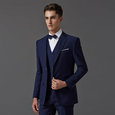 Navy Blue/Red/Black Men Wedding Suits Bridegroom Tuxedos Formal Business Suit