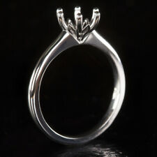 ROUND SEMI-MOUNT 6 PRONG ENGAGEMENT RING  SETTING WHITE GOLD VINTAGE SOLITAIRE