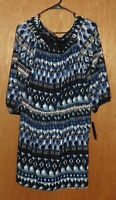 AB Studio Blue Black White Blouson Dress Size XL 3/4 Sleeves New with Tags