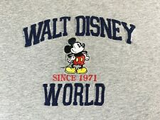 Disney World Mickey Mouse T-Shirt LARGE Gray Varsity Style Raised Lettering