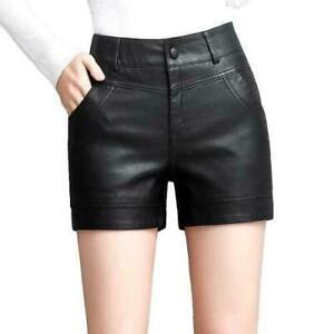 Fashion Womens Leather Mini Short Pants High Waist Slim Fit Casual Base Shorts