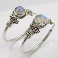 925 Sterling Silver Blue Round Rainbow Moonstone Earrings 3.1 cm Women Fashion