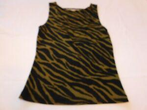 A. Byer California Women's Junior's Blouse Tank Top Size L large Zebra Print GUC