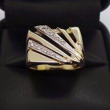 STUNNING 14K YG MEN'S DIAMOND RING .10 tcw  SZ 8.5  AI-607  8.09 grams