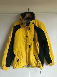Helly Hansen Yellow Black Waterproof Breathable Taped Seams Jacket Size M