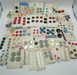 Vintage Buttons on Cards Huge Lot 60+ Ast Cards Le Chic Lansing Mother of Pearl