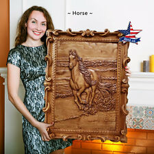 """39""""/99cm Wood carved 3D picture Horse painting-art-icon-panel-frame"""