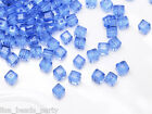 50pcs 4mm Cube Square Faceted Crystal Glass Charm Loose Spacer Beads Light Blue