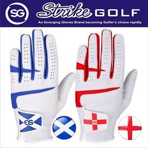 NEW 2021 SG Men Cabretta Leather Golf gloves Red England Logo Blue Scotland Logo