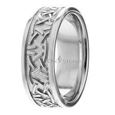 10K WHITE GOLD MENS CELTIC WEDDING BAND RING 10K GOLD WOMENS CELTIC WEDDING RING