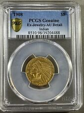 1908 US $5 Gold Indian Five Dollar Gold Coin - PCGS Genuine AU Detail 0.242 ozt