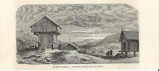 Stampa antica BAMBLE casa in legno Telemark Norway 1862 Antique antikk print