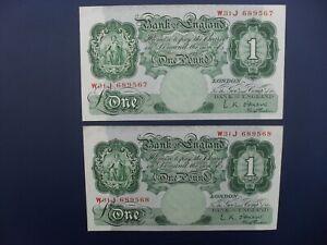 2No. CONSECUTIVE 1955 O'BRIEN (GB/ENGLAND) £1 BANKNOTES ORIGINAL aEF