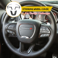 3pcs Steering Wheel Cover Bezels Decor Trim Kit for Dodge Challenger 2015-2019
